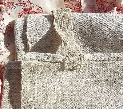 Antique French Cloth pure hand loomed oatmeal chanvre linen grossgrain weave