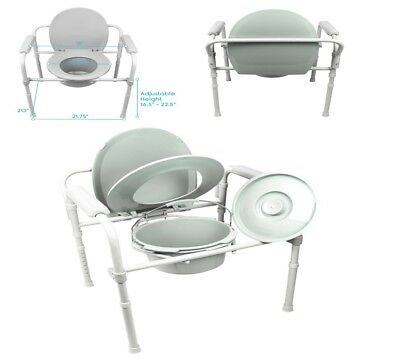Steel Commode Seat Chair Safety Medical Bathroom Potty Portable Toilet Bedside