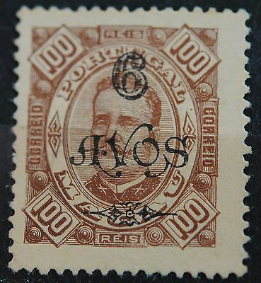 Macau Stamps SC#124 King Carlow Surcharged 6a on 100r Brown