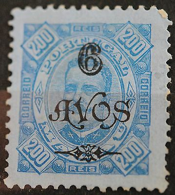 Macau Stamps SC#125 King Carlos Surcharged 6a on 200r Blue