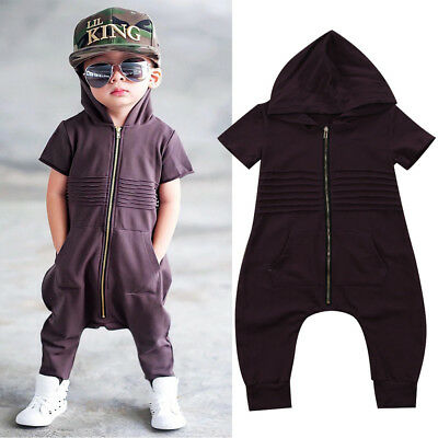 US Stock Newborn Toddler Baby Boy Hooded Zipper Romper Jumpsuit Playsuit Clothes