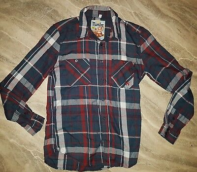 mambo get loud mens checked long sleeve shirt size small.