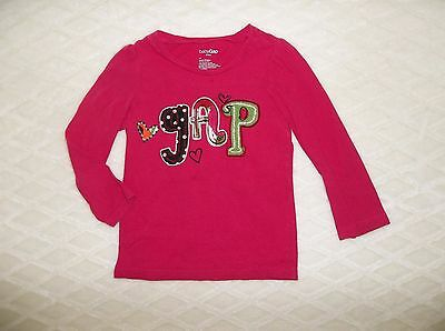 Girls Baby Gap Pink Logo Long Sleeve Top Tee Shirt   Sz 4 4T