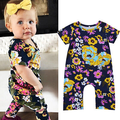 US Stock Newborn Kids Baby Girls Floral Romper Jumpsuit Playsuit Outfit Clothes