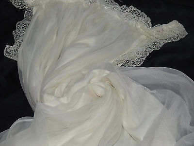 M&S VINTAGE PETTICOAT SHEER FLORAL LACE in CREAM LACY TRIMS&ROSEBUDS GORGEOUS