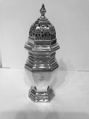 A SOLID SILVER SUGAR CASTER - LONDON - 1932 by GOLDSMITHS & SILVERSMITHS CO