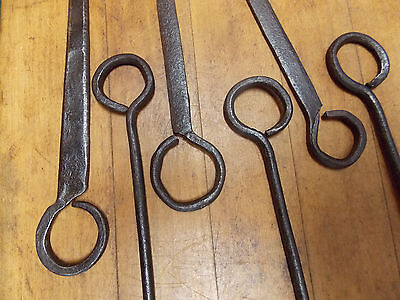 6 Antique wrought iron cooking skewers primitive forged iron