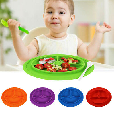NEW Children Tableware Meal Dinner Plate Silicone Food Dishes Plate Non-slip Mat