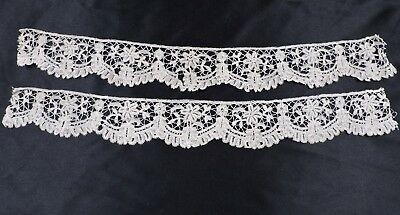 Scalloped & Floral Hand Made 19Th C Brussels Lace Trim Edging