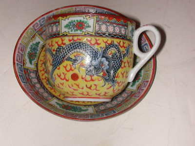 Fantastic Chinese Cup and Saucer with Dragons