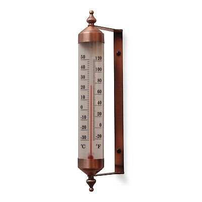 Garden Thermometer Vintage Antique Copper Finish Outdoor Yard Wall Mount Analog