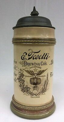 E.TOSETTI Brewing Co. Beer Mug Stein with Lid Chicago Illinois Made in Germany
