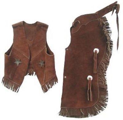 Childrens Western Vest & Chaps Set-black or Brown Suede Leather, S, M or L Medi