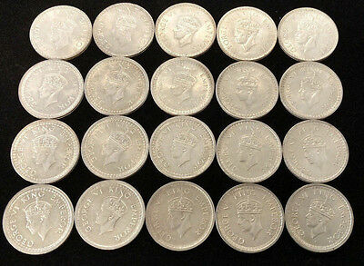 Lot of (20) Misc. 1940s Indian 1 Rupee Coins AU - BU