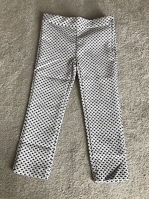 Janie And Jack Girls Cream & Black Patterned Stretch Trousers Age 4