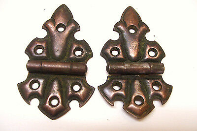 Pair Copper Flash Surface Hinges Fleur de Lis Design 3.25 Inches
