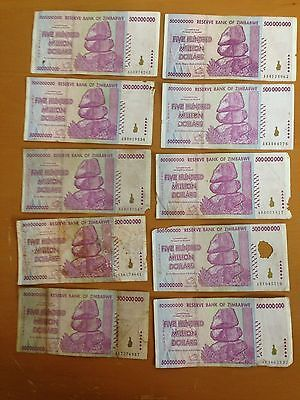 Zimbabwe 500 Million Dollars x 10 Pcs, 2008 AA/AB Circulated, 50 100 Trillion /2