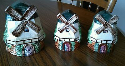 Vintage windmill salt and pepper shakers and sugar bowl.  Japan clover mark