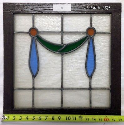 "Antique Victorian Stained Glass Window.  15.5"" w x 15' h"