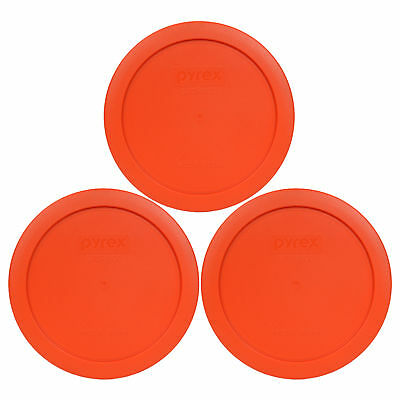 Pyrex 7201-PC 4 Cup Round Pumpkin Orange Lid Cover 3PK for Glass Bowl New