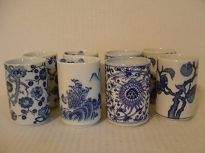 """Beautiful Set Of Eight Blue And White Asian Japanese Porcelain Tea Cups 3-1/4"""""""