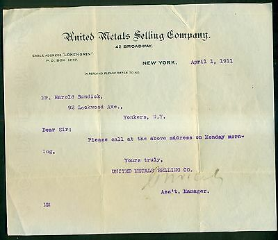 1911 United Metals Selling Company Letter - New York