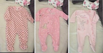 Baby Girls 3-6 Months Sleepsuits Fleecy Bambi Next Guess How Much I Love You