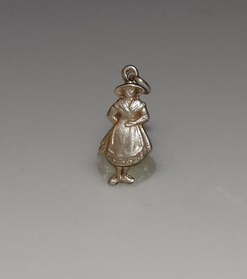 Vintage LADY IN FOLK CLOTHING Small Deco German 800 Silver Early Charm #21M