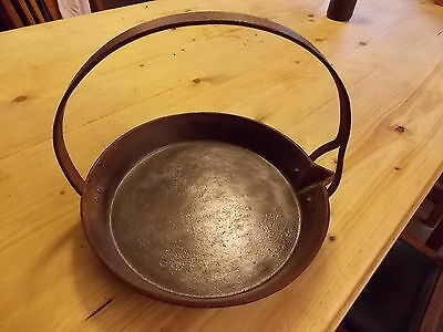 """Antique 19th Century CAST IRON PAN 11"""" gypsy fire hanging frying pan skillet"""