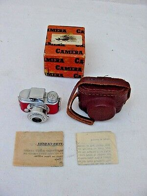 Vintage Miniature Mini Charmy Red Spy Camera Leather Case Japan Complete In Box