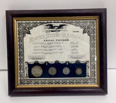United States Of America Legal Tender Certificate And Frame