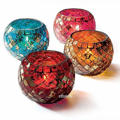 Fair Trade Turkish Moroccan Mosaic Glass Tealight Votive Candle Hold Weding Gift