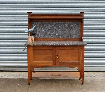 Solid Oak Antique Italian Marble Washstand.