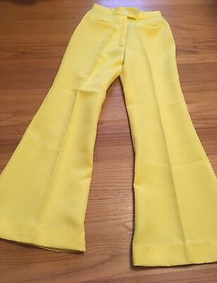 Vintage Polyester Bell Bottoms 70s Lemon Yellow High Waisting Woman Pants