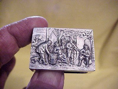 Early 830 Silver Reposse Match Box Holder  With Hallmarks  With  Mono #1