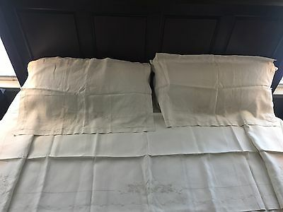 1940s King Size Antique Hand-Embroidered Italian Linen Top Sheet and Pillowcases