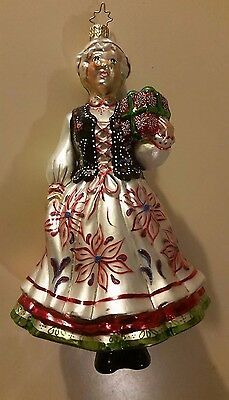 christopher radko christmas ornament mrs claus with present in traditional dress