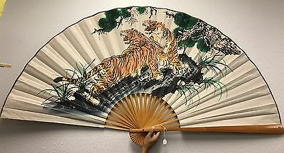 "Huge Chinese Hand Painted Decorative Wall Folding Fan Tiger 64"" Feng Shui"
