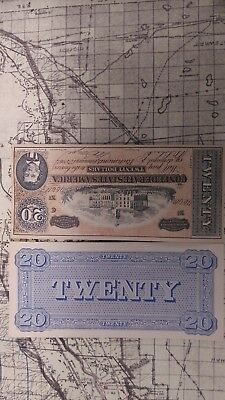Confederate States $20 Twenty Dollar Bill 1864 Civil War Bearer Note facsimile