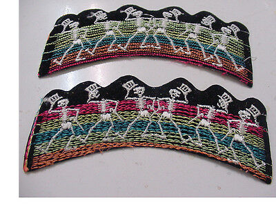 """2 Grateful Dead Dancing Skeletons Patch Embroidered 80's -Iron On -5"""" Licensed"""