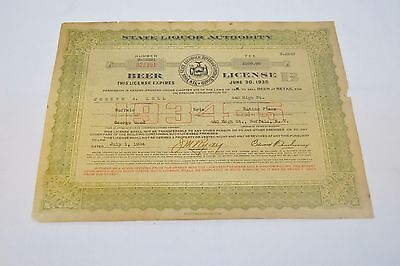 Vtg 1934 Beer License Buffalo NY State Liquor Authority Certificate Quayle & Son
