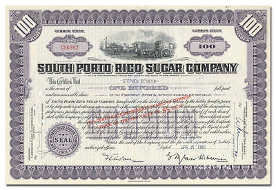 South Porto Rico Sugar Company Stock Certificate