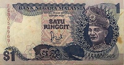 1986 MALAYSIA 1 RINGGIT NOTE VF Pick 27a