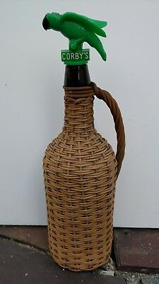"Vtg Demijohn 11-1/4"" Wicker Covered Wrapped Jug Bottle W/Handle, CORBY's Parrot"