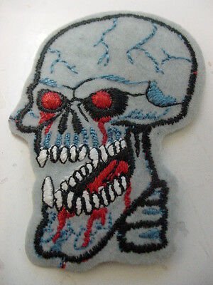 "set of 4 GRATEFUL DEAD  SKULL PATCH EMBROIDERED 80'S -IRON ON PATCH- 3"" LICENSED"