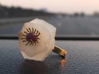 Antique Qing Dynesty Nephrite Jade Flower Ring