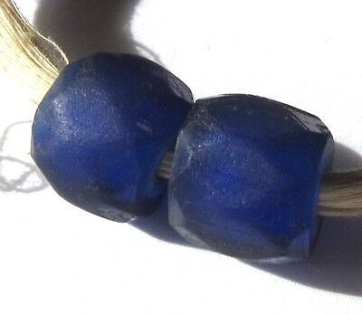 5 Rare Large Hand Faceted Old Stunning Cobalt Russian Blue Antique Beas