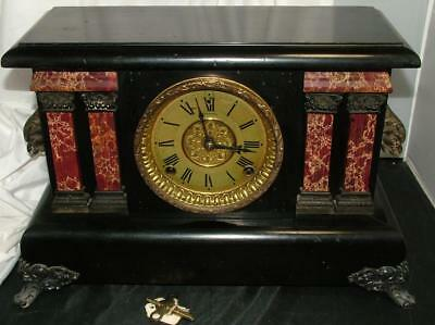 Antique Nouveau SESSIONS Black & Marble Column Mantle Clock w Key Runs Great!