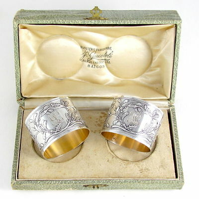Pair Antique French Sterling Silver Napkin Rings, Raised Floral Relief, Boxed