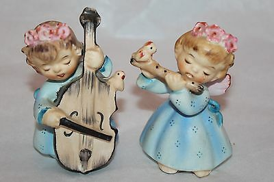 Lefton Japan Orchestra Girls w/ Cielo & Flute Ceramic Salt & Pepper Shakers